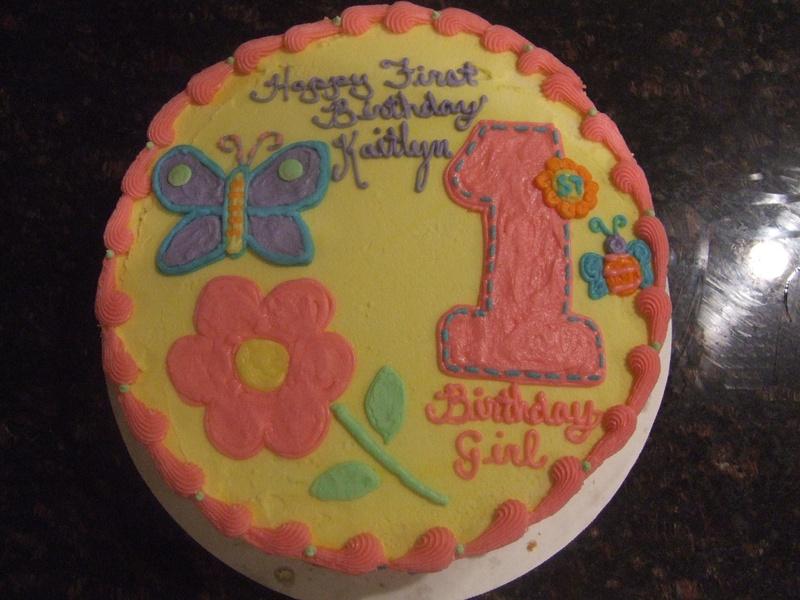 Butterfly Flower 1st Birthday Cake
